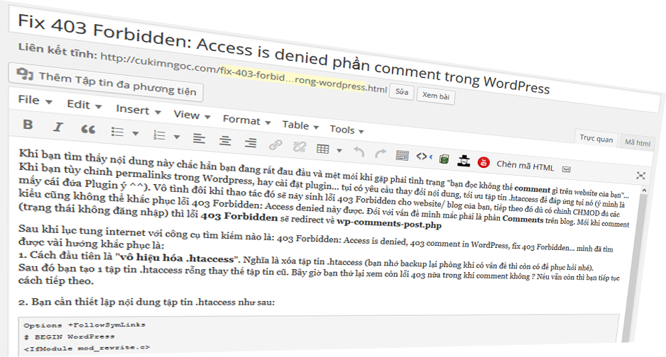 Fix 403 Forbidden access denied phần comment trong WordPress