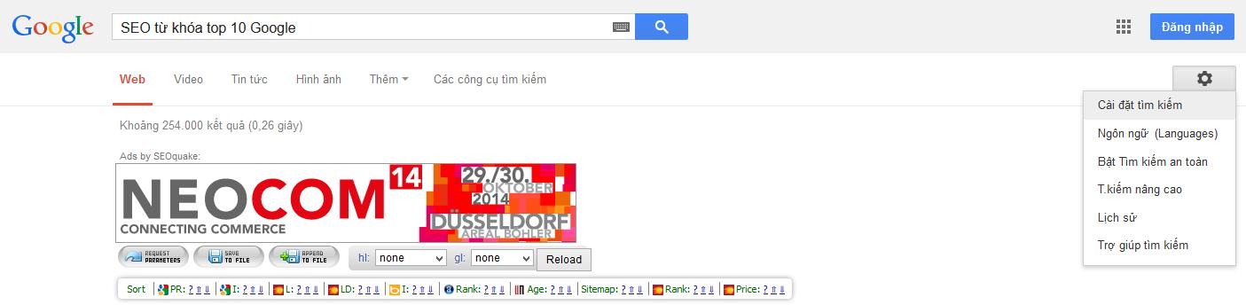 Cài đặt tìm kiếm Google